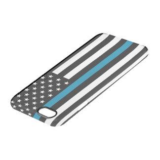 Dünne Blue Line-amerikanische Flagge Durchsichtige iPhone 6/6S Hülle