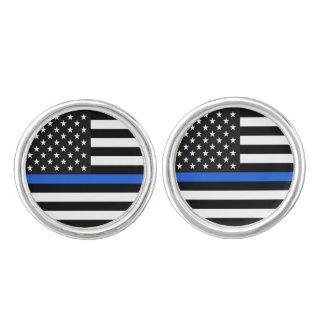 Dünne Blue Line-amerikanische Flagge Manschetten Knöpfe