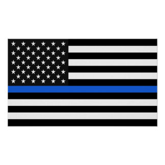 Dünne Blue Line-amerikanische Flagge Poster