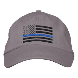 Dünne Flagge Blue Lines US im Schwarzen Besticktes Baseballcap
