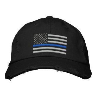 Dünne Flagge Blue Lines US im Silber Bestickte Kappe