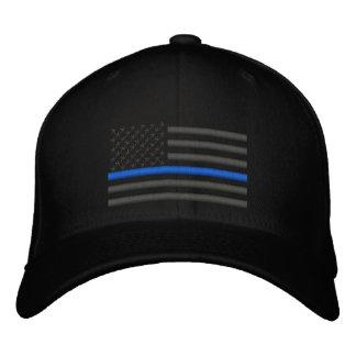 Dünne Flagge Blue Lines US in der Holzkohle Bestickte Baseballmützen