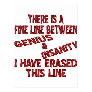 Dünne Linie zwischen Genie und Geisteskrankheit Postkarte