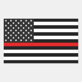 Dünne rote Linie amerikanische Flagge Rechteckiger Aufkleber