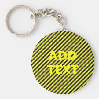 Dünne schwarze und gelbe diagonale Streifen Schlüsselanhänger