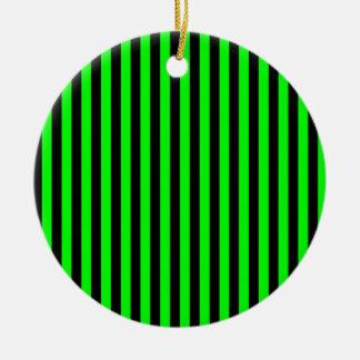 Dünne Streifen - schwarz und elektrisches Grün Rundes Keramik Ornament