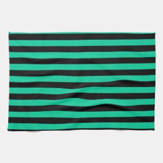 Dünne Streifen - schwarz und karibisches Grün Handtuch
