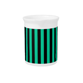 Dünne Streifen - schwarz und karibisches Grün Krug