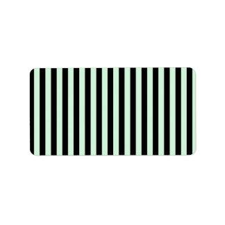 Dünne Streifen - schwarz und Pastellgrün Adressaufkleber