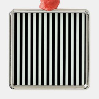 Dünne Streifen - schwarz und Pastellgrün Silbernes Ornament
