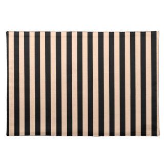 Dünne Streifen - schwarz und tiefer Pfirsich Tischset
