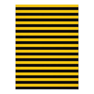Dünne Streifen - Schwarzes und Bernstein 16,5 X 22,2 Cm Einladungskarte