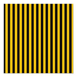 Dünne Streifen - Schwarzes und Bernstein Quadratische 13,3 Cm Einladungskarte