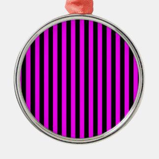 Dünne Streifen - Schwarzes und Fuchsie Silbernes Ornament