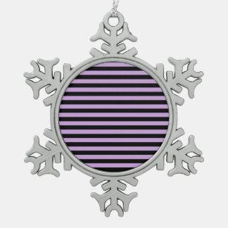 Dünne Streifen - Schwarzes und Glyzinien Schneeflocken Zinn-Ornament