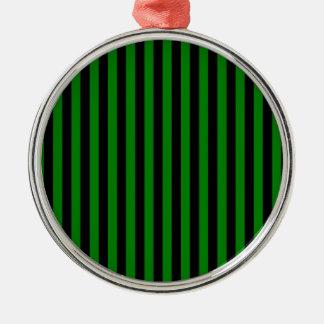 Dünne Streifen - Schwarzes und Grün Rundes Silberfarbenes Ornament