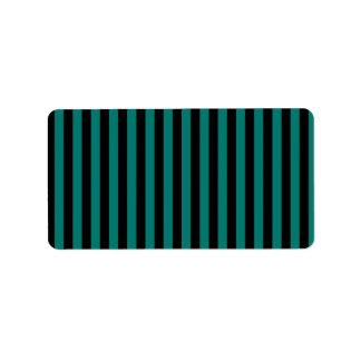 Dünne Streifen - Schwarzes und Kiefern-Grün Adressaufkleber