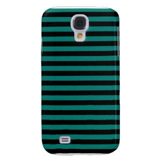 Dünne Streifen - Schwarzes und Kiefern-Grün Galaxy S4 Hülle