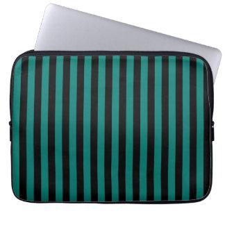 Dünne Streifen - Schwarzes und Kiefern-Grün Laptop Sleeve