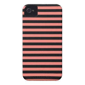 Dünne Streifen - Schwarzes und Korallen-Rosa iPhone 4 Cover