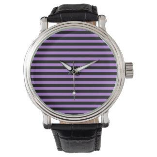 Dünne Streifen - Schwarzes und Lavendel Armbanduhr