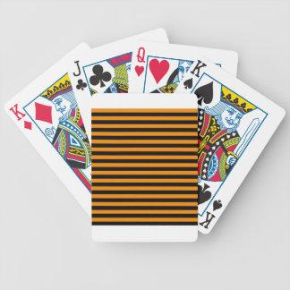 Dünne Streifen - Schwarzes und Mandarine Bicycle Spielkarten