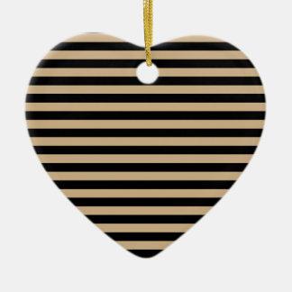 Dünne Streifen - Schwarzes und TAN Keramik Herz-Ornament
