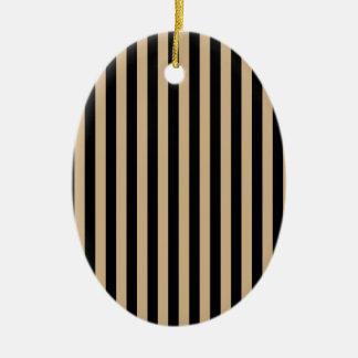 Dünne Streifen - Schwarzes und TAN Ovales Keramik Ornament