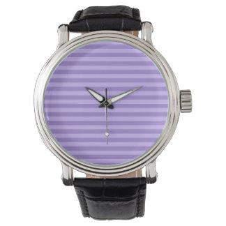 Dünne Streifen - violett und hellviolett Uhr