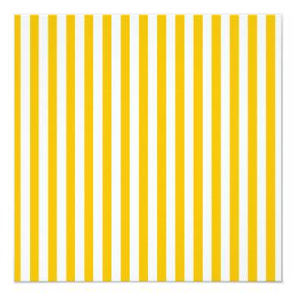 Dünne Streifen - Weiß und Bernstein Quadratische 13,3 Cm Einladungskarte