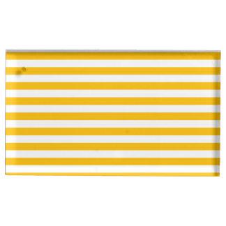 Dünne Streifen - Weiß und Bernstein Tischnummernhalter