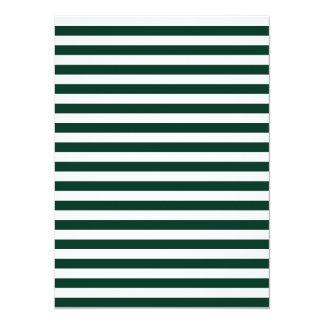 Dünne Streifen - weiß und dunkelgrün 14 X 19,5 Cm Einladungskarte