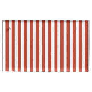 Dünne Streifen - weiß und dunkles Pastellrot Tischkartenhalter