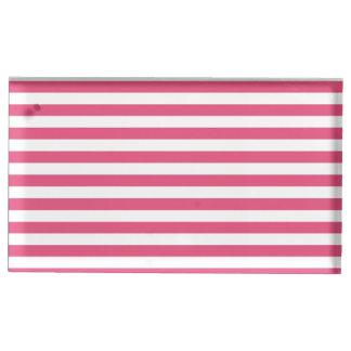 Dünne Streifen - weiß und dunkles Rosa Platzkartenhalter