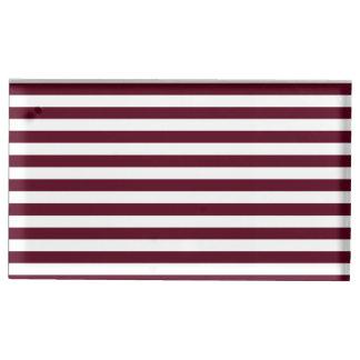 Dünne Streifen - weiß und dunkles Scharlachrot Tischkartenhalter