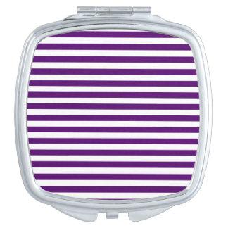 Dünne Streifen - weiß und dunkles Veilchen Taschenspiegel