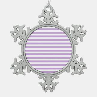 Dünne Streifen - Weiß und Glyzinien Schneeflocken Zinn-Ornament