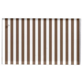Dünne Streifen - Weiß und Kaffee Tischnummernhalter
