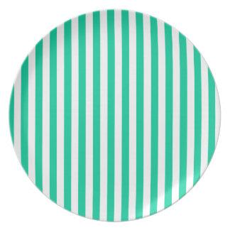 Dünne Streifen - weiß und karibisches Grün Melaminteller