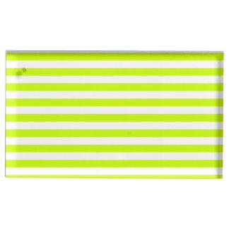 Dünne Streifen - weiß und Leuchtstoffgelb Tischnummernhalter