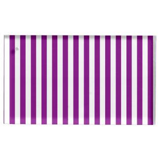 Dünne Streifen - weiß und lila Platzkartenhalter
