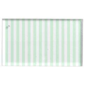 Dünne Streifen - weiß und Pastellgrün Platzkartenhalter