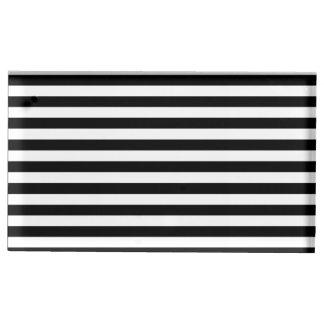 Dünne Streifen - Weiß und Schwarzes Platzkartenhalter