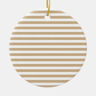 Dünne Streifen - Weiß und TAN Keramik Ornament