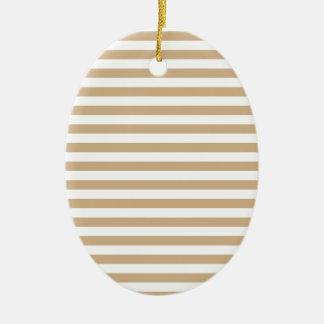 Dünne Streifen - Weiß und TAN Ovales Keramik Ornament