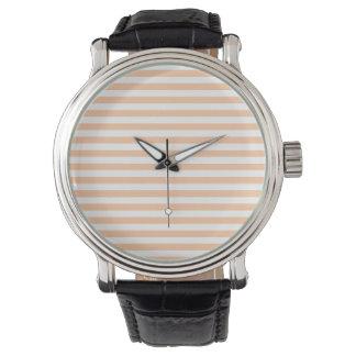 Dünne Streifen - weiß und tiefer Pfirsich Armbanduhr
