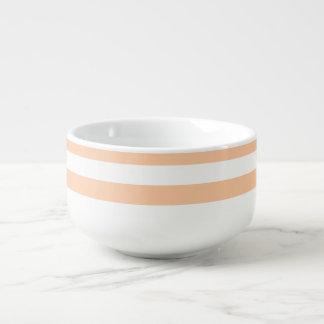 Dünne Streifen - weiß und tiefer Pfirsich Große Suppentasse