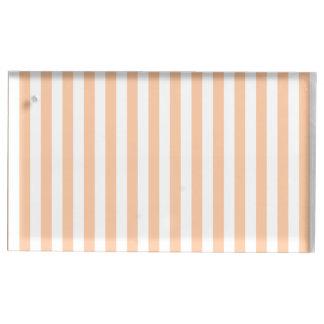 Dünne Streifen - weiß und tiefer Pfirsich Platzkartenhalter