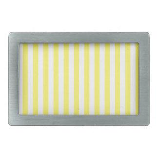 Dünne Streifen - Weiß und Zitrone Rechteckige Gürtelschnalle