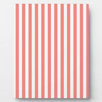 Dünne Streifen-- weißes und Korallen-Rosa Fotoplatte